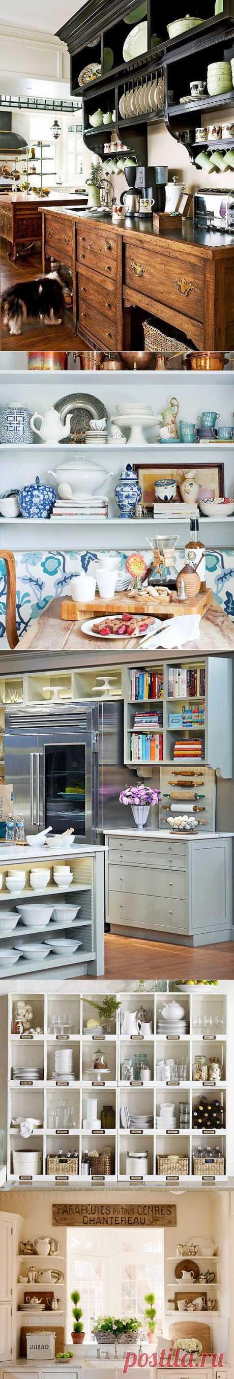 Такие разные, но милые: открытые полки на кухне