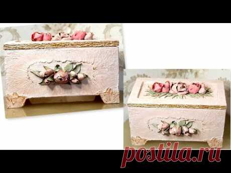 DIY /Beautiful jewelry box from Cardboard /Decor with  Air dry clay