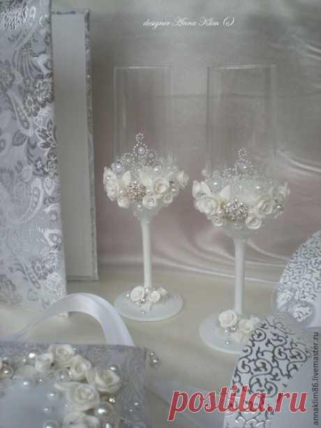 """Купить Бокалы """"Wedding"""" Возможны варианты цвета! - белый, бокалы для свадьбы, бокалы для молодоженов"""