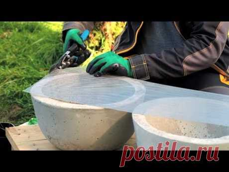 Бетонные кашпо и декоративный камин для сада своими руками. Эпизод 3 - YouTube