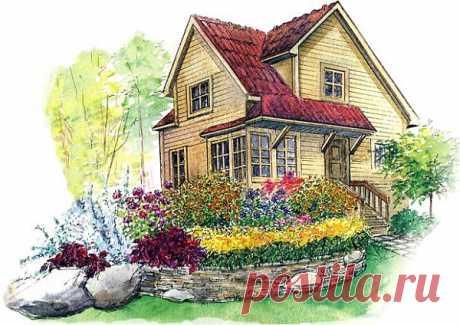 Cад в стиле кантри, деревенский стиль сада, схемы деревнских цветников   Любимые цветы