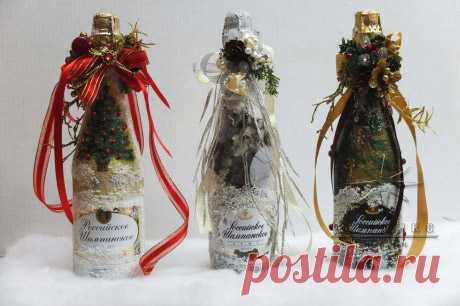 Необычное оформление бутылок шампанского для украшения Новогоднего стола или сувенир на Новый год в подарок