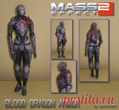 Blood Dragon Armor Papercraft The female Blood Dragon Armor from Mass Effect 2 (DLC). Difficulty: Really Hard The model is approximately scaled to Xenonray's ME2 paper models for consistency. Model is in .pdo files, so you will...