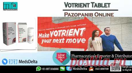 Get low price Votrient Pazopanib tablet online from MedsDelta trusted medicine supplier providing you life saving products. Buy Votrient 200mg and 400mg Pazopanib manufactured by glaxosmithkline GSK at wholesale cost. Votrient Pazopanib Tablet online available at MedsDelta has successfully met the growing demands of the Pharmaceutical Industry with a wide range of effective formulations and medicines. Call +91-9971646666 and QQ: 3451266709 at MedsDelta trusted medicine supplier for get delivered