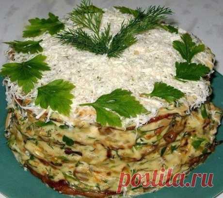 Печёночный Наполеон с грибами: удивите всех, кто будет его пробовать! Прекрасная закуска для любого случая!