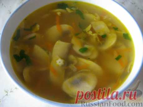 Рецепт: Суп картофельный со свежими грибами