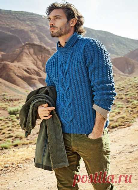 Схемы узоров - Мужской пуловер с косами