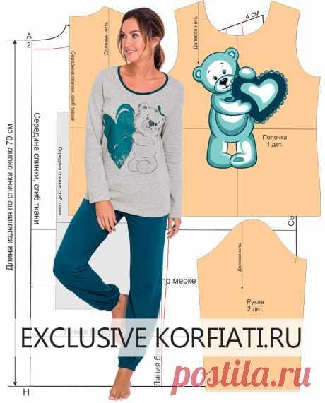 Pattern of a knitted pajamas from Anastasia Korfiati