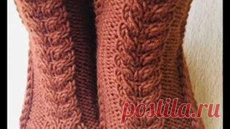 Носки с косой на двух спицах/Socks with a scythe on two needles. Easy knitting