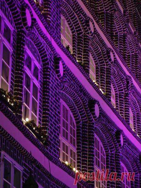Room in violet building.