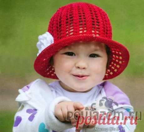 Панамка крючком для девочки «Красная шляпка»