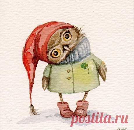 Для души: трогательные совы от иллюстратора Инги Пальцер