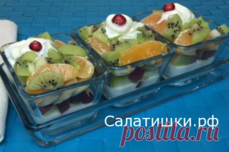 РЕЦЕПТ ВКУСНОГО ФРУКТОВОГО САЛАТА С МОРОЖЕНЫМ И ЙОГУРТОМ » Рецепты вкусных салатов