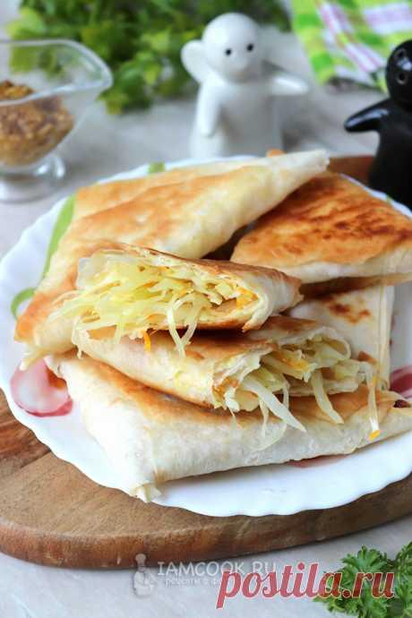 Пирожки из лаваша с капустой на сковороде — рецепт с фото пошагово