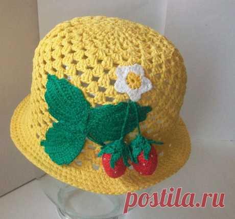 Летняя шапочка крючком для девочки, пошаговое руководство