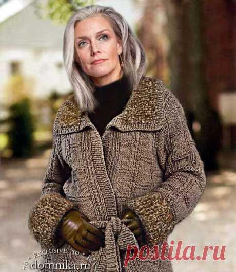 ? Вязаное пальто спицами для женщин после 60 лет ⏰ на осень