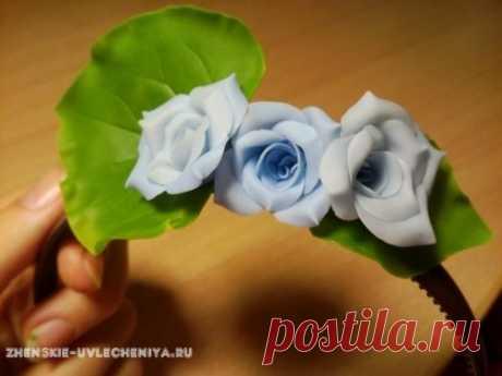 Ободок из полимерной глины с цветами и листиками