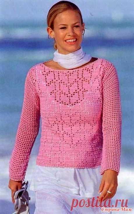 . Розовый пуловер в технике филе. - Все в ажуре... (вязание крючком) - Страна Мам