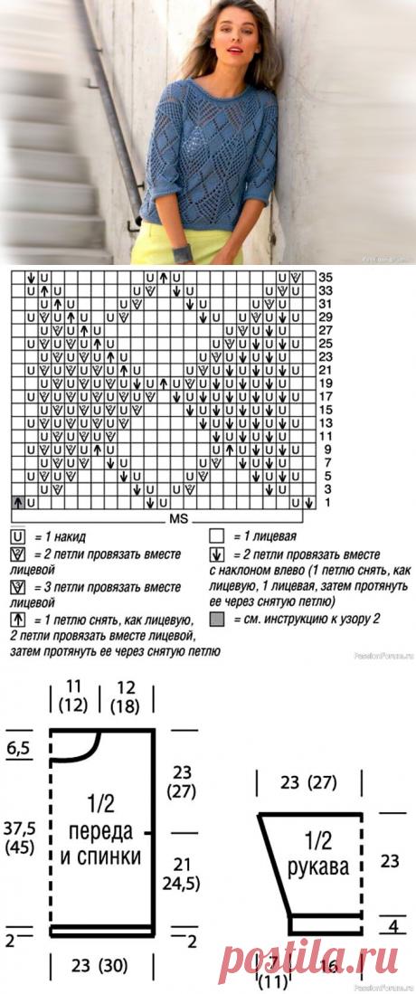 Пуловер со строгим геометрическим рисунком. Описание   Вязание для женщин спицами. Схемы вязания спицами