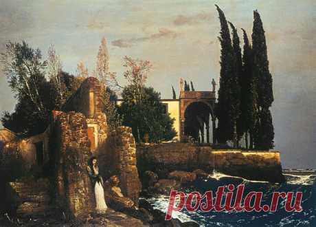 Arnold Böcklin (1827-1901) - Villa am Meer, 1878 г.