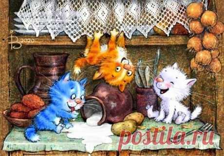 ༺🌸༻ Дом не может без кота,  Без кота дом - сирота.