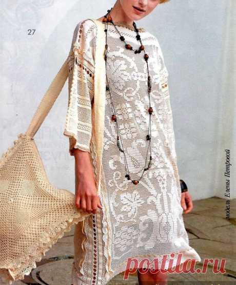 Филейное платье Бохо. Схема