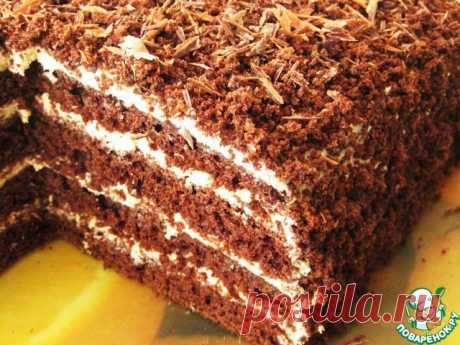 Cake coffee and chocolate - very simple, very fast, very big, porous, damp