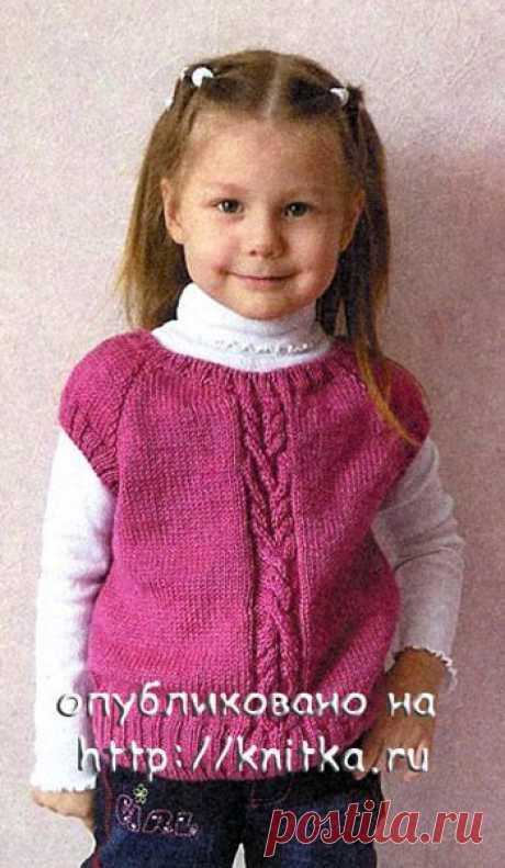 Жилет для девочки с подробным описанием и схемой вязания, Вязание для детей