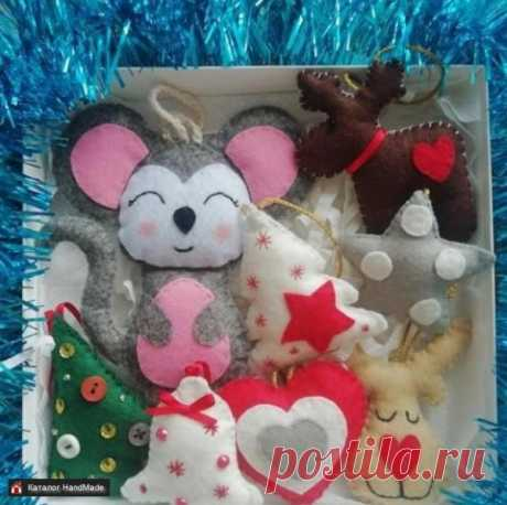Новогодние игрушки из фетра Мышки и Олени ручной работы купить в Минске и Беларуси, цены на HandMade