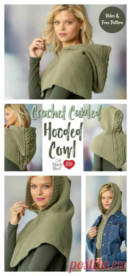 Cabled Hooded Cowl Free Crochet Pattern and Video Tutorial