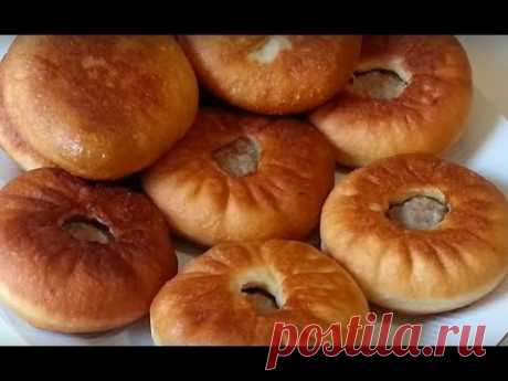 Belyashes with meat on yeast dough