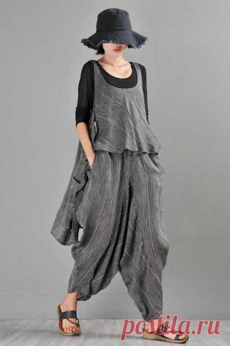 Blue Striped Linen Vest Top Women's suits-Casual | Etsy