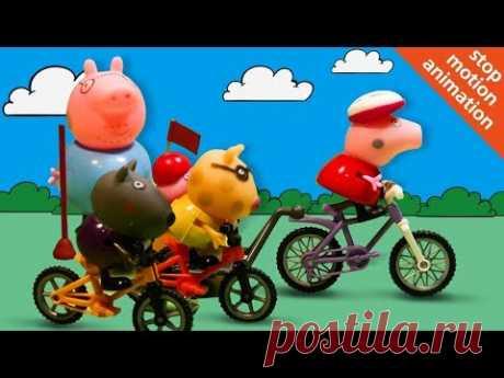 СВИНКА ПЕППА устроила велосипедные гонки Мультик из игрушек для самых маленьких Веселые Карусели - YouTube