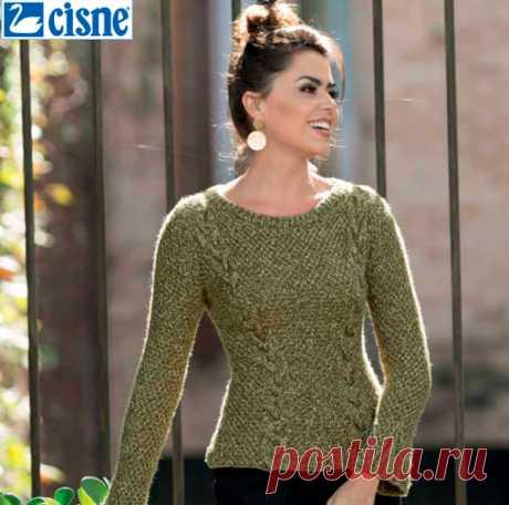 Blusa de Tricô Verde com Tranças - Fio Cisne Bellini - Blog do Bazar  Horizonte - 730c0048a12
