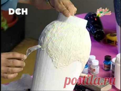 Jarrón con técnica de cartapesta (2º parte) - YouTube