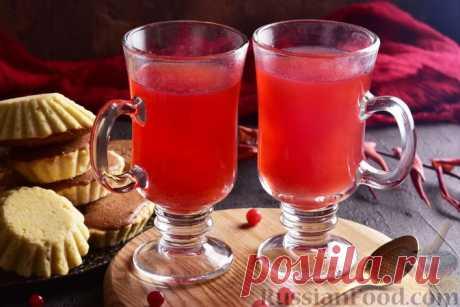 Рецепт: Пряный клюквенный чай с лимоном и мёдом на RussianFood.com