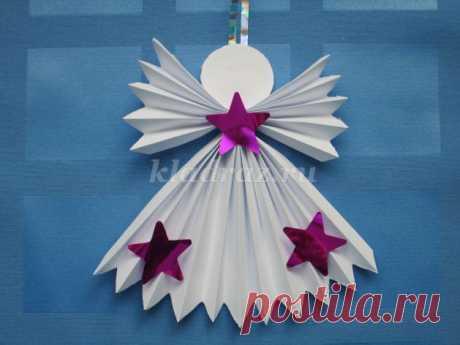 Рождественский Ангел из бумаги. Мастер класс с пошаговым фото.