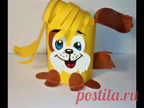 собачка  из бумаги 2018 год желтой собаки за 5 минут