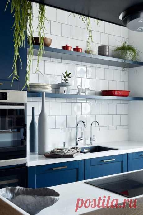 Голубая кухня (54 фото): сочетания цветов + идеи дизайна