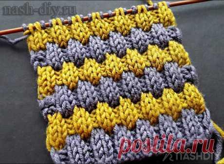 Оригинальный двухцветный узор спицами на основе резинки 2 на 2 Оригинальный двухцветный узор спицами на основе резинки 2 на 2В этом видео я покажу как вязать красивый, объемный узор спицами. двухцветный узор на основе резинки 2 на 2. В этом узоре используются снятые петли, которые создают некоторый объем. Смена нити будет происходить через каждые 6 рядов.