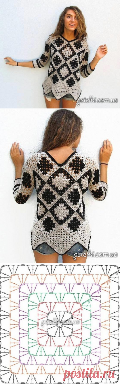 Tunic from a grandmother's square. Scheme