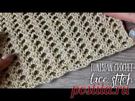 """Тунисское вязание крючком: простой красивый ажурный узор! Tunisian crochet lace stitch. 🧶Подробный обзор хлопковой пряжи """"Egitto"""" смотрите на моем втором кан..."""