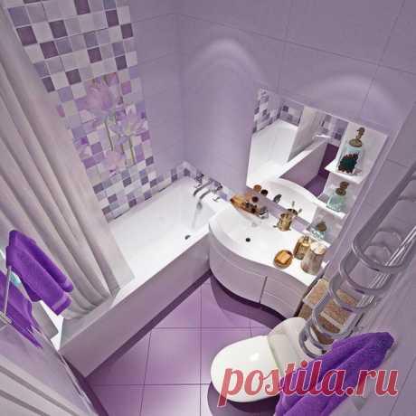 Лавандовый цвет в ванной комнате