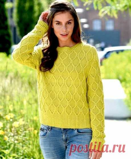 Пуловер узором ромбы