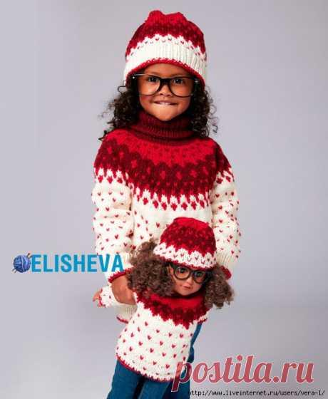 Детский комплект от Bernat от 2 до 6 лет: шапка и свитер с жаккардовым узором спицами