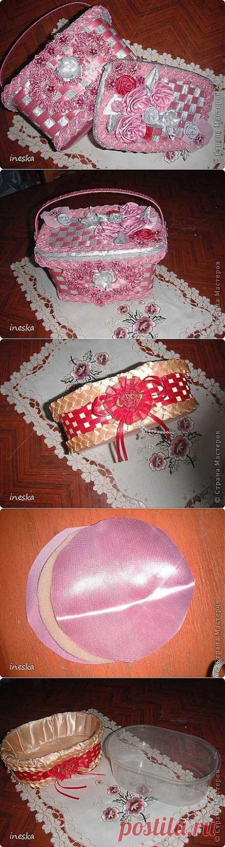 """Шкатулки из пластиковой посуды """"Розовая нежность""""."""