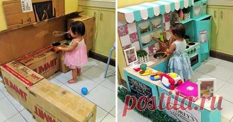 Это не мама. Это просто самая креативная мама. Как сделать детскую кухню из использованных картонных коробок?