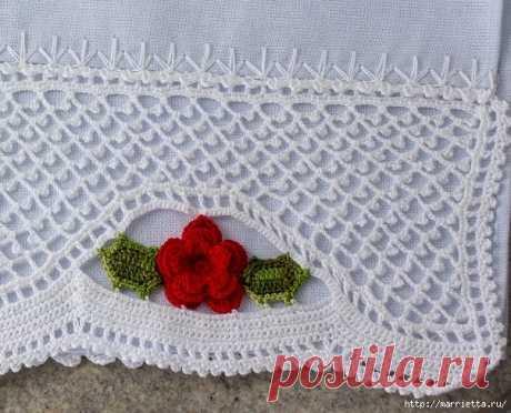 Ажурная обвязка с розами - крючком для декора полотенца