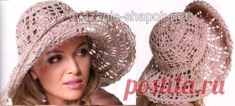 La labor de punto del sombrero veraniego por el gancho | la Labor de punto de los Gorros por los Rayos y el Gancho