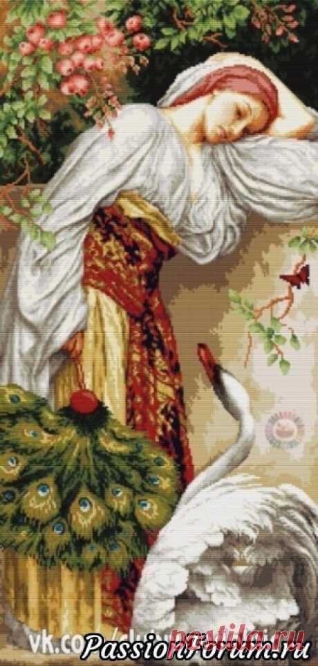 Девушка с лебедем. - запись пользователя Татьяна (Татьяна) в сообществе Вышивка в категории Схемы вышивки крестом, вышивка крестиком Девушка с лебедем.(схема)